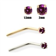 14K Gold Purple Diamond Nose Pin