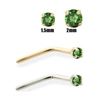 14K Gold Dark Green Diamond Nose Pin