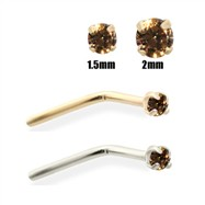 14K Gold Cognac Diamond Nose Pin