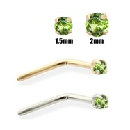 14K Gold Apple Green Diamond Nose Pin