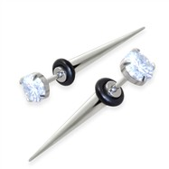 Fake Tapers with clear gem