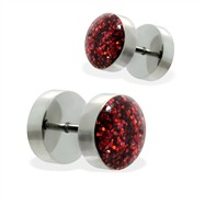 Pair of fake Glitter Dome Top plugs, 16GA
