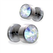 Pair of fake Crystal Flat Top plugs
