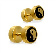 Pair of fake Gold Tone Ying-Yang plugs, 16GA
