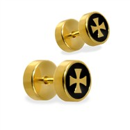 Pair of fake Gold Tone Cross plugs, 16GA