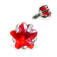 Internally Threaded Star Dermal Top, 14GA, 3mm, Red
