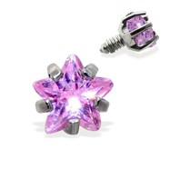 Internally Threaded Star Dermal Top, 14GA, 3mm, Pink
