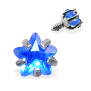 Internally Threaded Star Dermal Top, 14GA, 3mm, Blue
