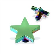 Internally Threaded Titanium Star Dermal Top, 14GA, 4mm, Green