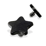 Internally Threaded Titanium Star Dermal Top, 14GA, 4mm, Black