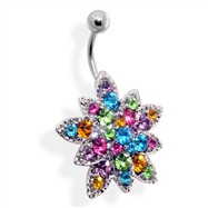 Multicolored Jeweled Flower Belly Ring