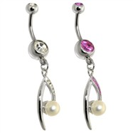 Steel Eye of Pearl Centered Dangle Navel Ring