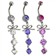 Steel Ribbon with Cascading Droplets of Orb Gems Navel Ring