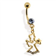 Gold Tone Angel Belly Ring with CZ