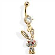 Gold Tone Belly Ring with CZ Covered Bunny