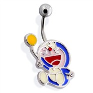 Surgical Steel Belly Ring with Robotic Cat with Balloon
