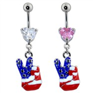 Steel Navel Ring with American Flag Peace Hand
