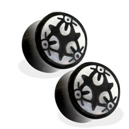 Pair Of Organic Horn Saddle Fit Plug with Abalone Tribal Symbol Inlay