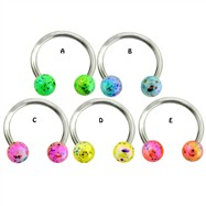 Surgical Steel Horseshoe with Balls with multicolored splatter