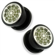 Pair Black UV Screw Fit Plug with Glow in the Dark Spider Web