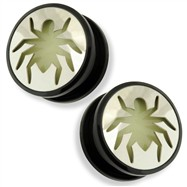 Pair Black UV Screw Fit Plug with Glow in the Dark Spider