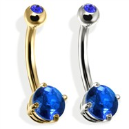 14K Gold Double Jeweled Belly Ring, Sapphire