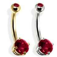 14K Gold Double Jeweled Belly Ring, Garnet