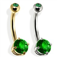 14K Gold Double Jeweled Belly Ring, Emerald