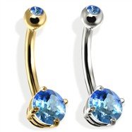14K Gold Double Jeweled Belly Ring, Blue Zircon