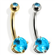 14K Gold Double Jeweled Belly Ring, Aquamarine