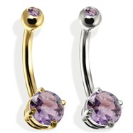 14K Gold Double Jeweled Belly Ring, Alexandrite