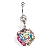 Steel Multi Colored Gem Paved Flower Navel Ring