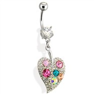 Steel Multi Color Gemmed Leaf Navel Ring
