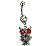 Steel Hematite Vintage Owl with Red Eyes