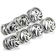 Pair of Steel Carved Tornado Swirls Plugs