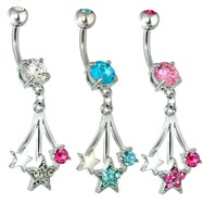 Steel Falling Stars Navel Ring with Gems