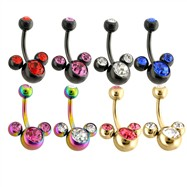 Plated Navel Rings with Triple Gem