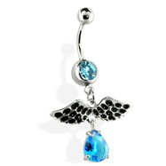 Belly Ring with Teardrop and Wing Dangle