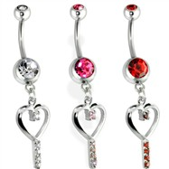 Belly Ring with Dangling Key