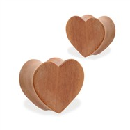 Pair Of Organic Red Cherry Wood Heart Shape Double Flare Plugs