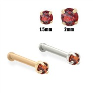 14K Gold Garnet Red Diamond Nose Bone