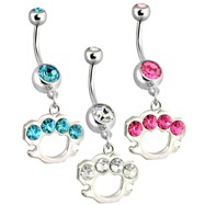 Belly Ring with Dangling Brass Knuckles