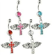 Belly Ring with Dangling Cross with Wings