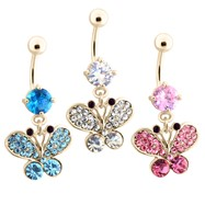 Gold Tone Belly Ring with Dangling Paved Gem Butterfly
