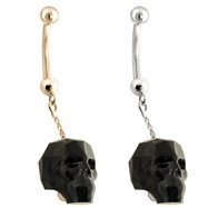 14K Gold Belly Ring with a dangle Chain and Black Skull
