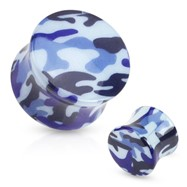 Pair Of Blue Camouflage Printed UV Acrylic Saddle Fit Plugs