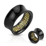Pair Of Glittery Pattern Inlayed Inside Of Black Acrylic Saddle Fit Tunnels