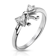 Stainless Steel Ring with CZ Bow
