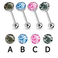 Camouflage Print Inlayed Surgical Steel Barbell