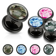 Camouflage Print Inlayed Black UV Acrylic Fake Plugs
